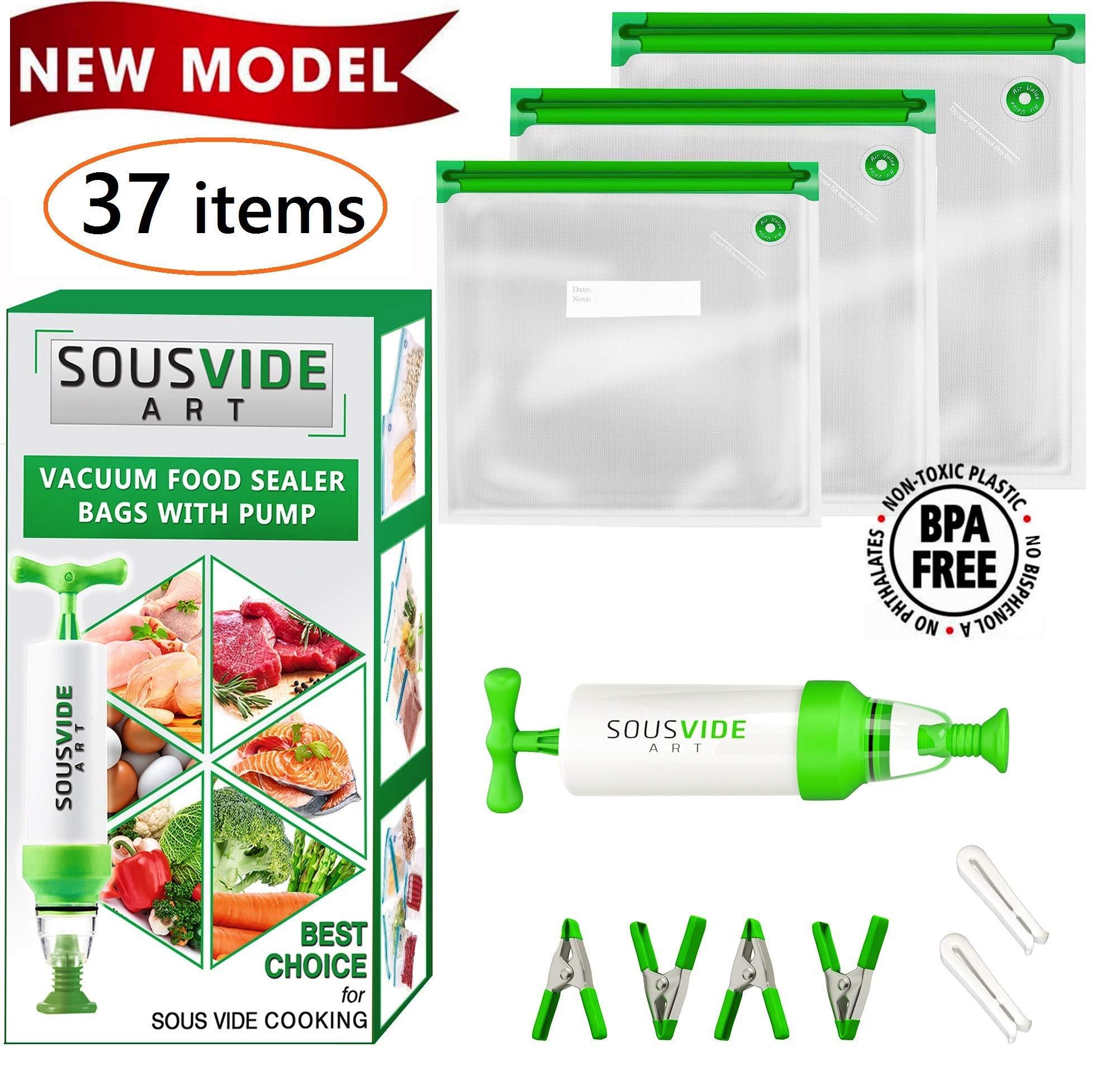 Sous Vide Bags 30 Reusable Vacuum Food Storage Bags Sous Vide Bag Kit 3 Sizes BPA Free - Bags for Sous Vide Cooking (Premium) by SOUSVIDE ART