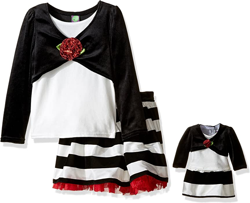 ... Matching Doll Outfit. Dollie   Me Little Girls  Long Sleeve Mock Shrug  Tunic with Striped Skirt 3723062ec