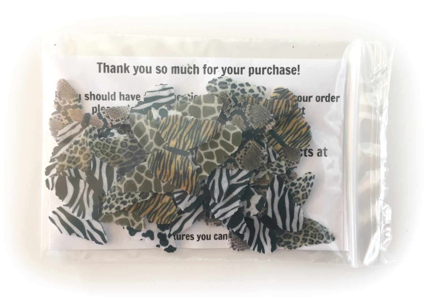 24 Animal Print Edible Wafer Paper Butterflies Mini Very Small 1'' Cake Cupcake Toppers Decoration Cow Giraffe Snake Leopard Cheetah Zebra Tiger by Deco Machine Butterflies (Image #3)