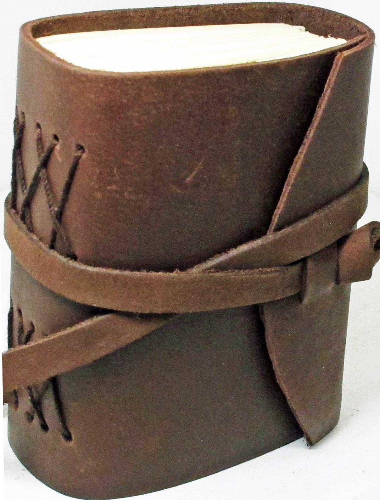 "Download Handmade Leather Journal 3 1/2"" X 5"" Thick Chocolate Brown Adventurer pdf epub"