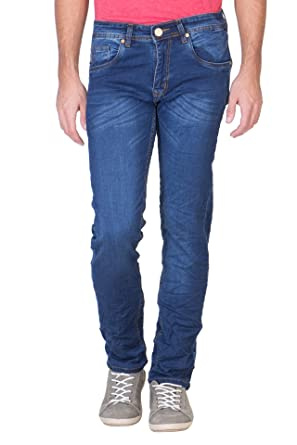 KROSSSTITCH Men s Slim Fit Denim Blue Jeans  Amazon.in  Clothing ... ec928e89090