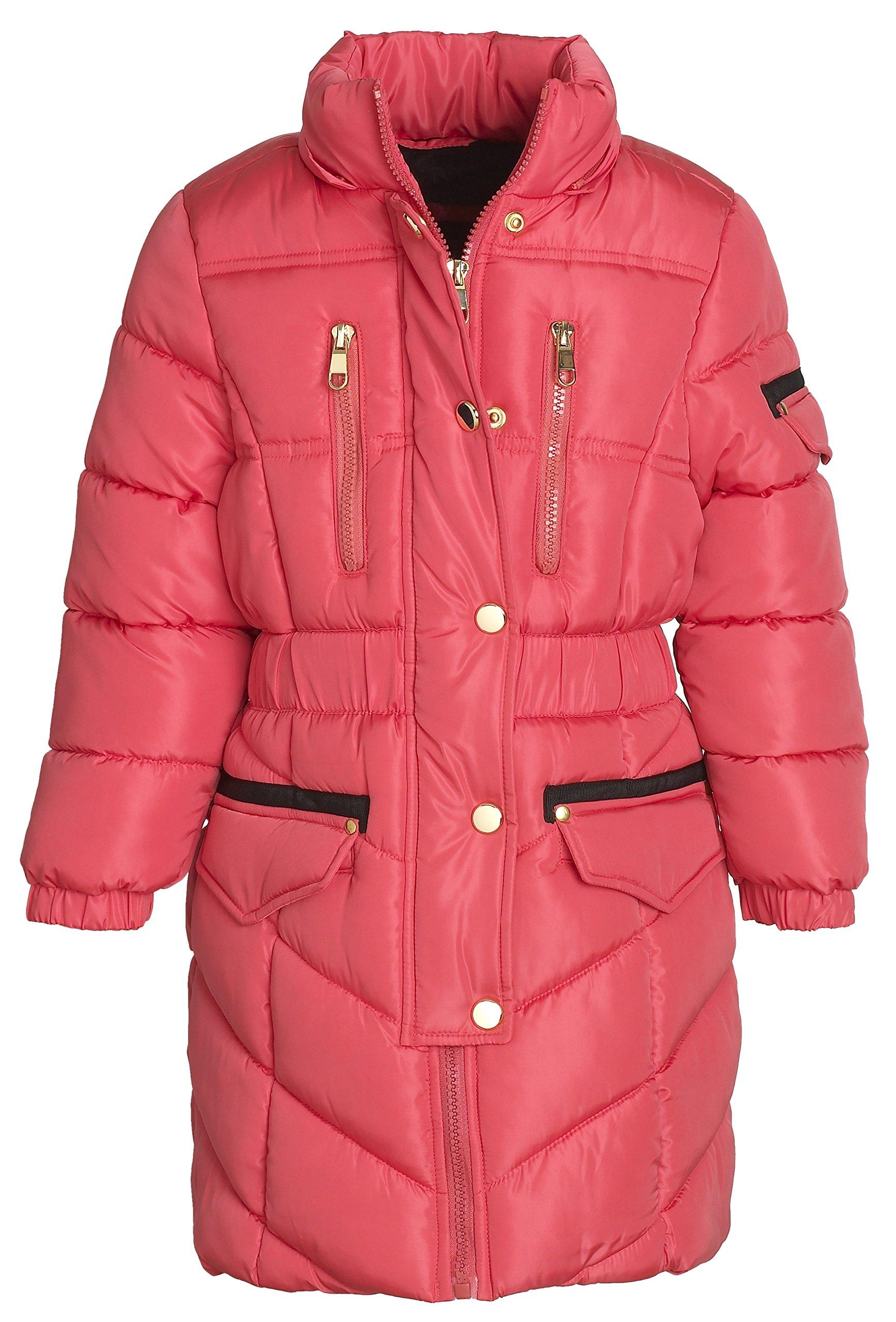 Sportoli Girls' Winter Heavy Quilt Padded Puffer Jacket Plush Lined Hooded Coat (Hibiscus, 7/8) by Sportoli (Image #3)