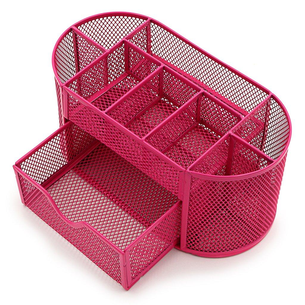 Sumnacon PU cuir Organisateur de Bureau/ Table , Boîte de Organisateur/ Rangement en PU Cuir avec 7 Compartiments pour Ranger objets dans le Table / Bureau (blanc) SunGiRay