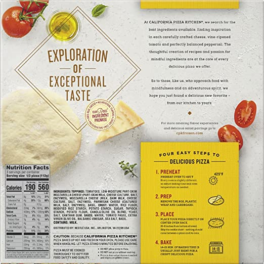 CALIFORNIA PIZZA KITCHEN Gluten Free Margherita Frozen Pizza 11.8 Oz:  Amazon.com: Grocery U0026 Gourmet Food