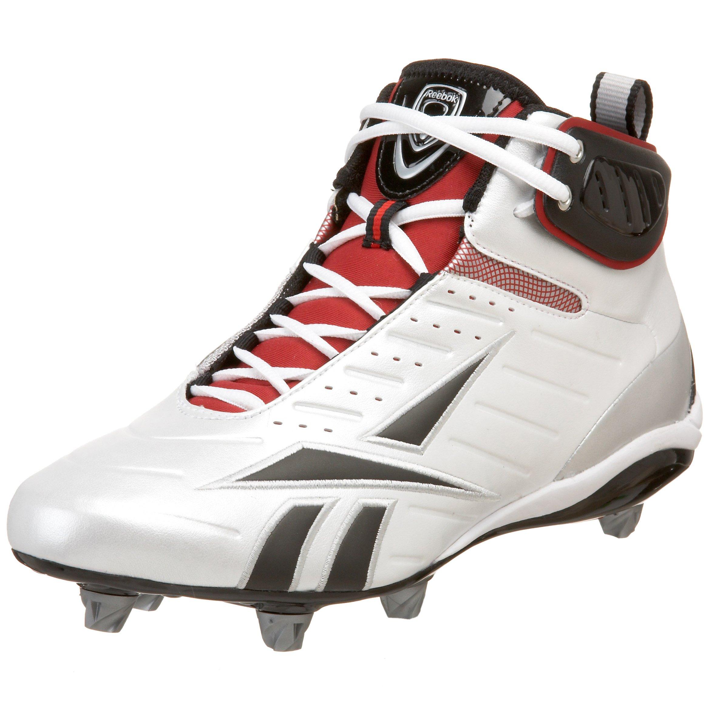 Reebok Men's Bulldodge Mid D III KFS Lacrosse Shoe,White/Black/Silver/Red,13.5 M US