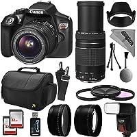 Canon EOS Rebel T6 Digital SLR Camera Kit w/EF-S 18-55mm f/3.5-5.6 is II and 75-300mm f/4-5.6 III Zoom Lens + 0.43x Super Wide Angle Macro + 2.2X Telephoto + 64GB Memory + Flash + Bag + Filter Bundle