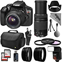 Canon EOS Rebel T6 Digital SLR Camera Kit w/EF-S 18-55mm f/3.5-5.6 IS II and 75-300mm f/4-5.6 III Zoom Lens + 0.43x Super Wide Angle Macro + 2.2x Telephoto + 64GB Memory + Flash + Bag + Filter Bundle