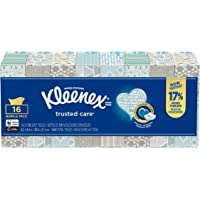 Kleenex Trusted Care Everyday Facial Tissues, Flat Box, 100 Tissues per Flat Box (Pack of 16)