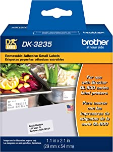 Brother Printer Die Cut Removable Adhesive Small Labels (DK3235), White