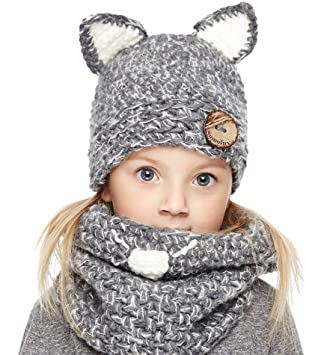 31880d4f4ee Sumolux Winter Kids Warm Cat Animal Hats Knitted Coif Hood Scarf Beanies  for Autumn Winter