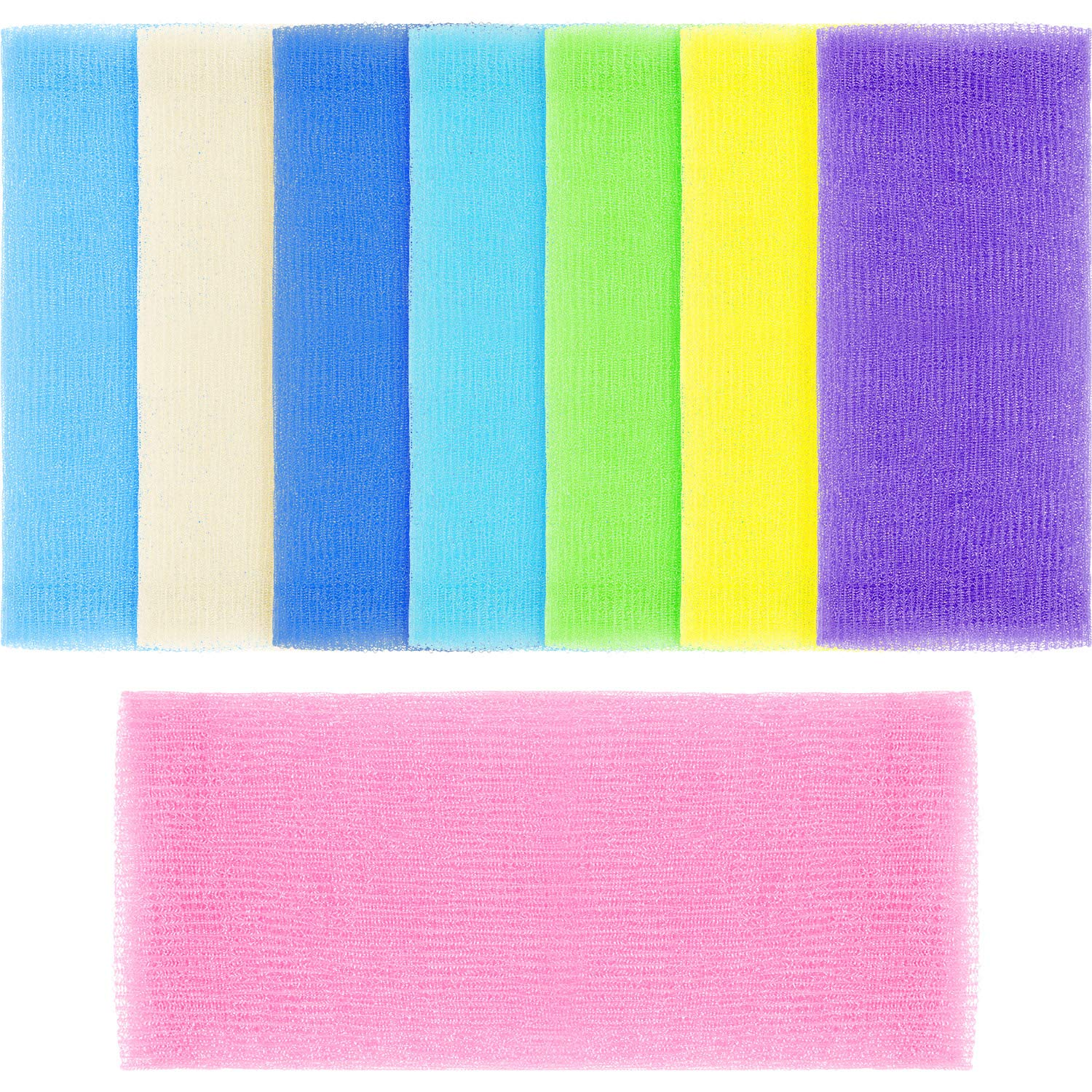 Boao 8 Pieces 36 Inch Extra Long Exfoliating Bath Cloth Nylon Bath Towel Body Shower Cleaning Sponges (Multiple Colors)