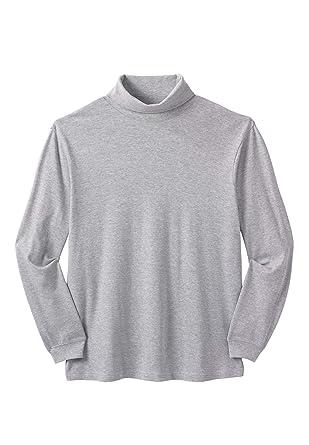 60ebdd548e95 KingSize Men's Big & Tall Turtleneck Long-Sleeve Cotton Tee, Heather Grey  ...