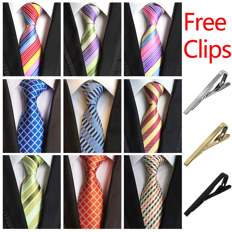 Jeatonge Lot 6pcs Mens Ties and 3pcs Tie Clips, Men's Classic Tie Necktie Woven Jacquard Neck Ties (9-5)