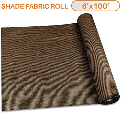 TANG Sunshades Depot 6 x100 Shade Cloth Brown Fabric Roll Up to 95 Blockage UV Resistant Mesh Net for Outdoor Backyard Garden Plant Barn Greenhouse Weddings Placemat Crafts Decorate Swing