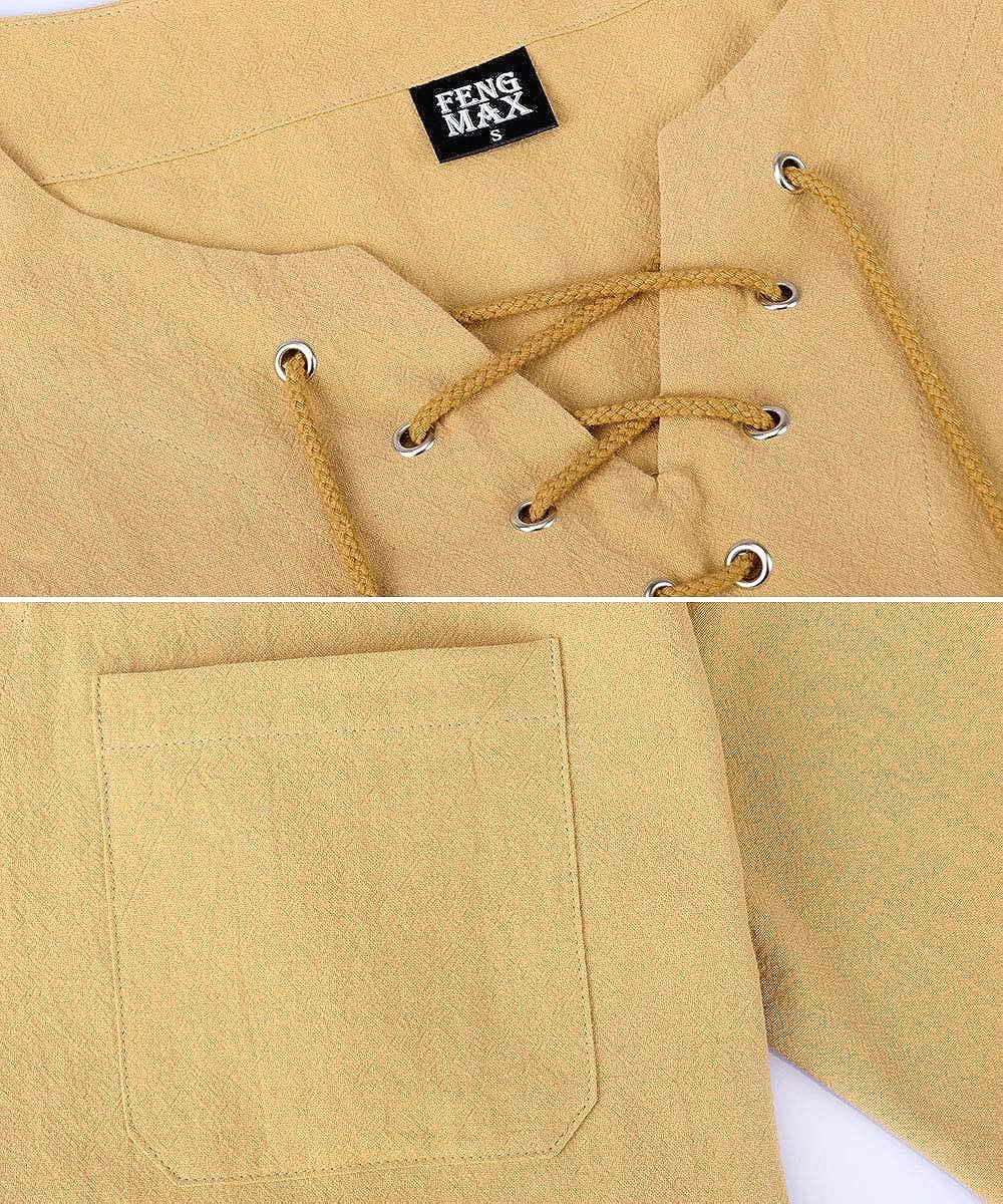 FENGMAX Mens Lightweight Cotton Linen T-Shirt Beach Short Sleeves Yoga Tops