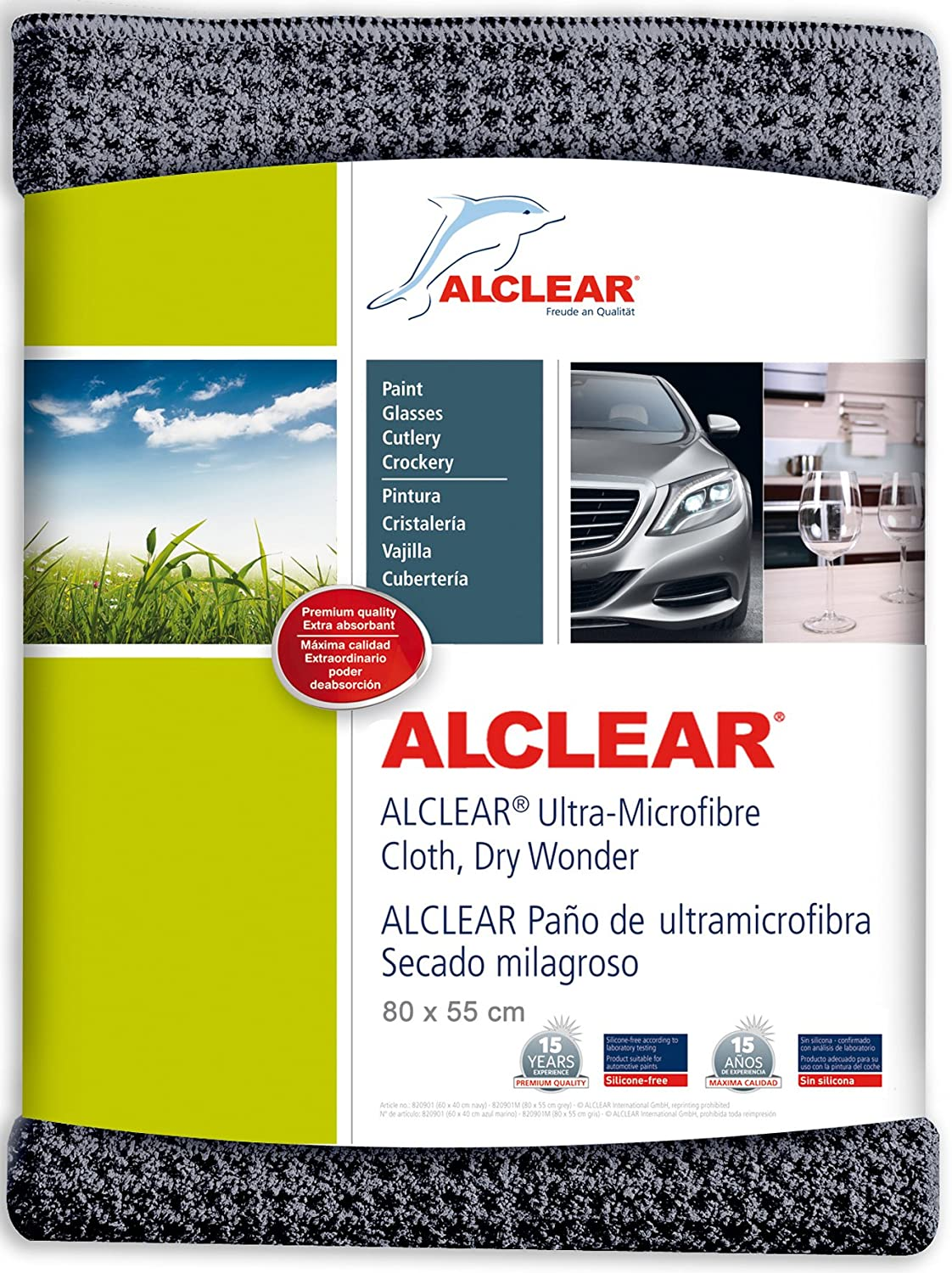 ALCLEAR car microfibre cloth dry miracle for car care, car paint, motorcycle, kitchen and household use - Microfibre tea towel - soft dry cloth - 80x55 cm, Set of 2,  anthracite ALCLEAR International GmbH 820901M_2
