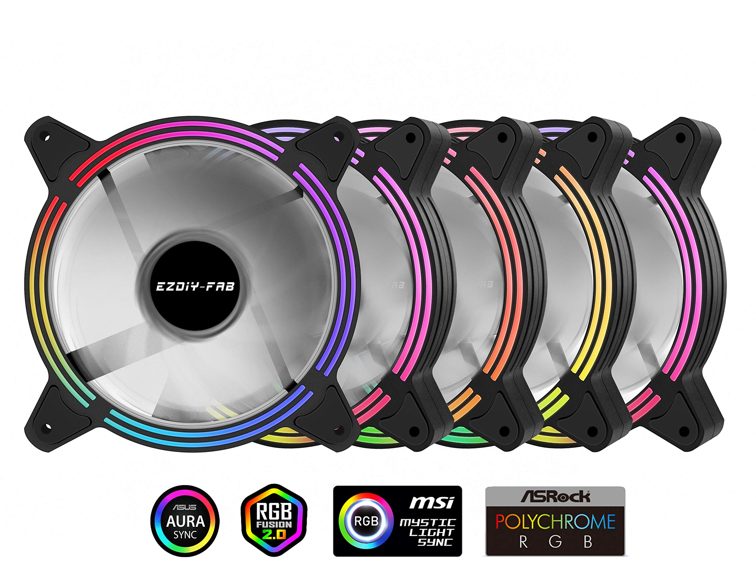 EZDIY-FAB 5-Pack 120mm Dual Frame RGB PWM Fans for PC Case,Addressable RGB Case Fan with Fan Hubs,CPU Cooling Fan, 5V ARGB 3 pin Motherboard Sync,Compatible with ASUS Aura Sync
