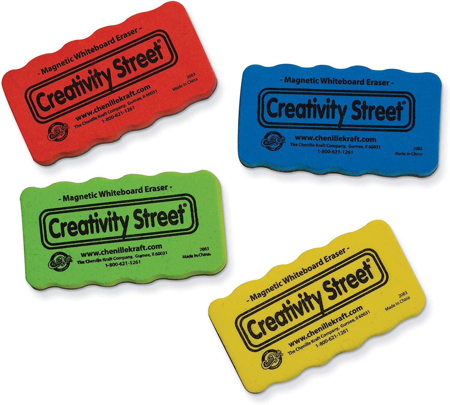 AC2083 Creativity Street Magnetic Chalk and Whiteboard Erasers 4-Pack