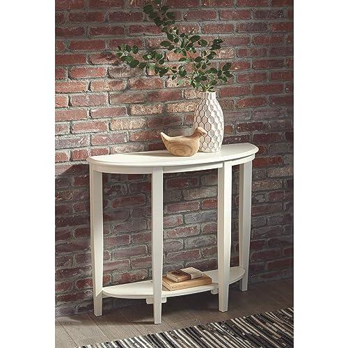 Ashley Furniture Signature Design – Altonwood Console Sofa Table – Half-Moon – Casual – White