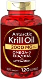 Antarctic Krill Oil 2000 mg 120 Softgels | Omega-3 EPA, DHA, with Astaxanthin Supplement Sourced from Red Krill…