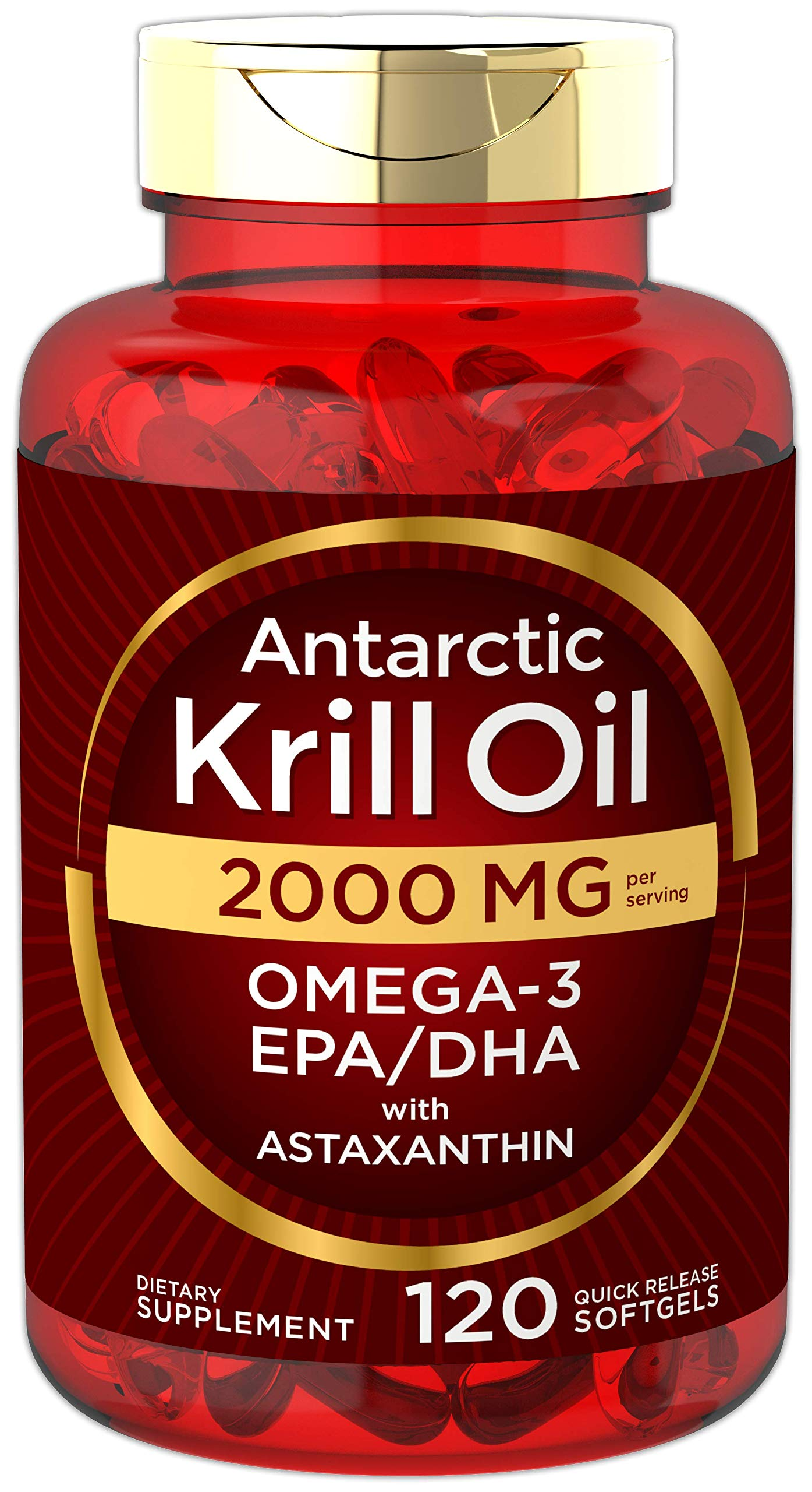 Antarctic Krill Oil 2000 mg 120 Softgels | Omega-3 EPA, DHA, with Astaxanthin Supplement Sourced from Red Krill | Maximum Strength | Laboratory Tested by Carlyle