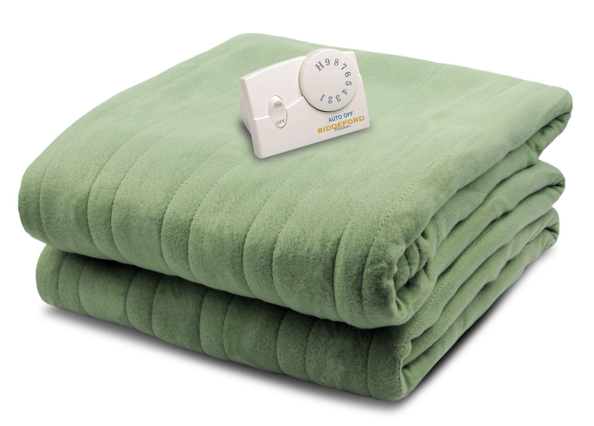 Biddeford Blankets Comfort Knit Heated Blanket, Full, Sage