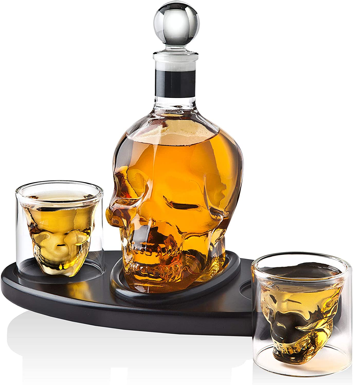 Whiskey Decanter Skull Set with 2 Cocktail Shot Glasses - for Liquor, Scotch, Bourbon or Vodka - 850ml
