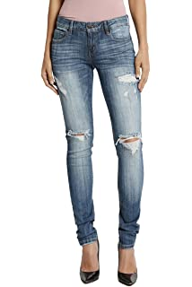 7a21b6c363e4 TheMogan Roll Up Relaxed Stretch Skinny Jeans in Distressed Medium Blue Wash