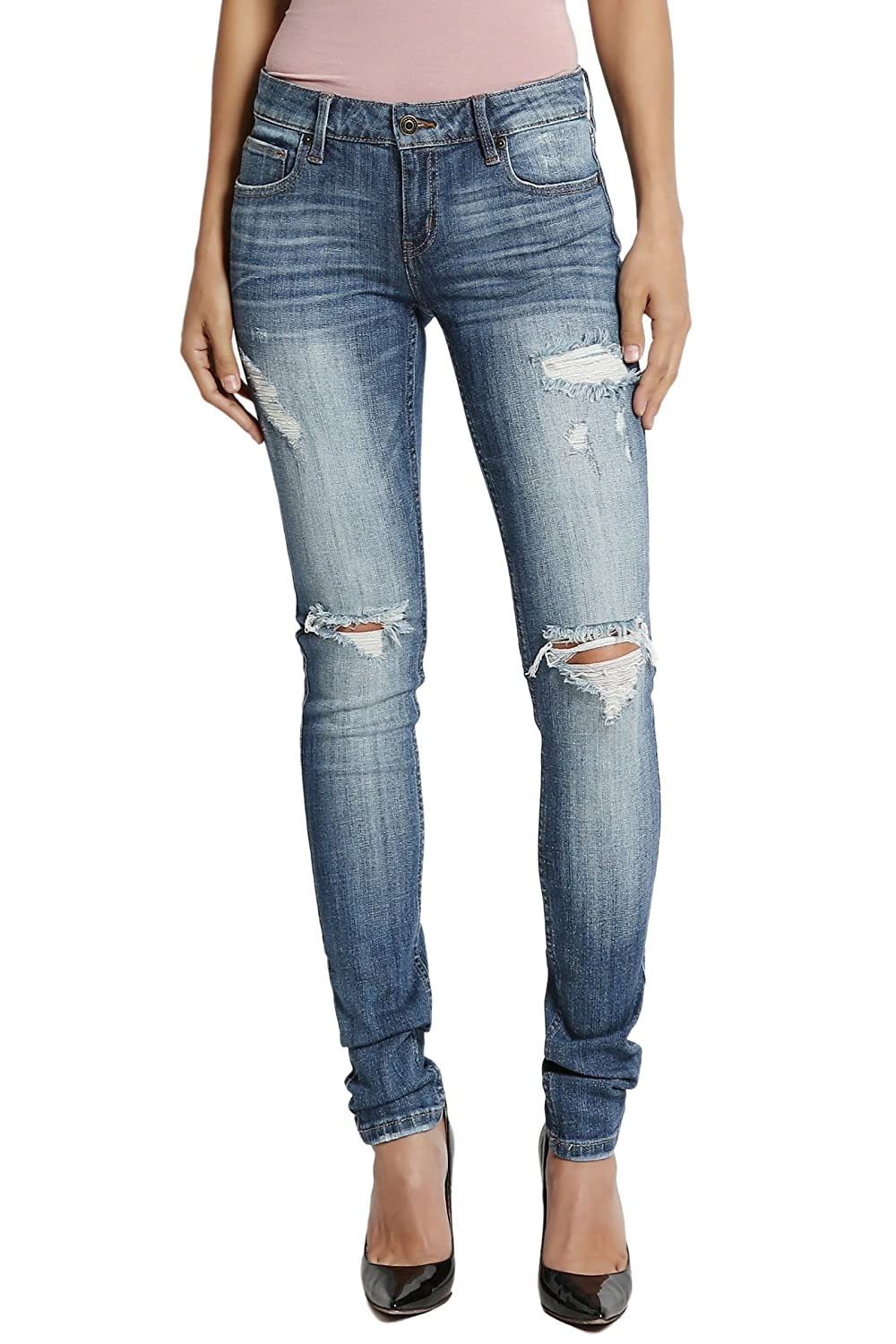 c8ed0005384 TheMogan Roll Up Relaxed Stretch Skinny Jeans in Distressed Medium Blue Wash  at Amazon Women s Jeans store