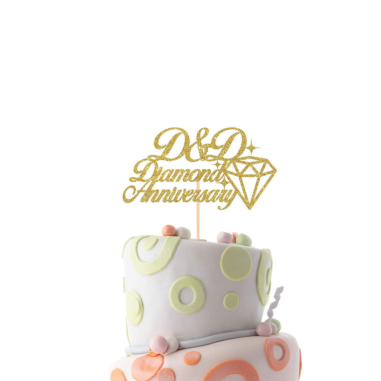 60th anniversary cake topper Personalised wedding anniversary cake topper//Diamond anniversary party decor with initials