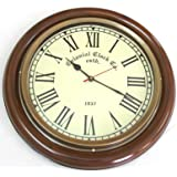 Artshai BIG 16 inch Wall clock, Antique/Vintage look, Brass and Wooden material.