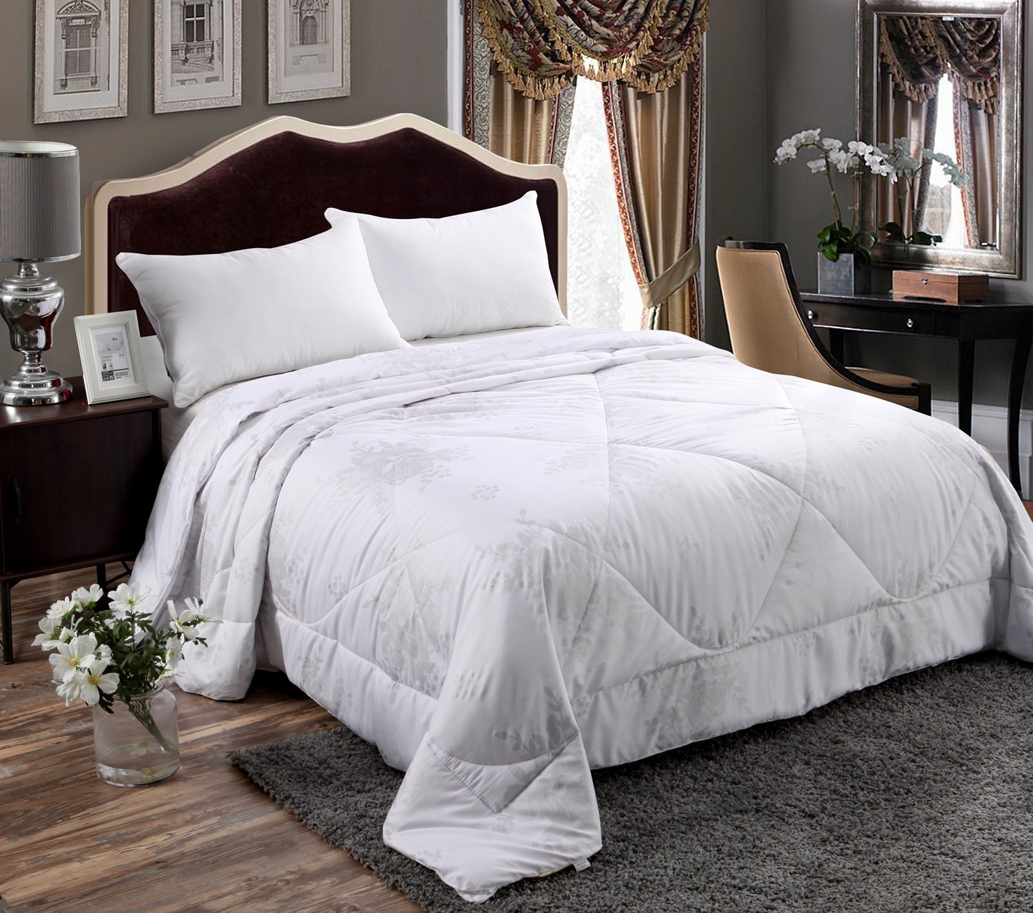 Alicemall Full Size Comforter Duvet Insert White Hypoallergenic Stain Cotton Printing Silky Hollow Fiber Filled Quilt, Twin/ XL Twin/ Full/ Queen/ King/ California King (Full) by Alicemall (Image #2)