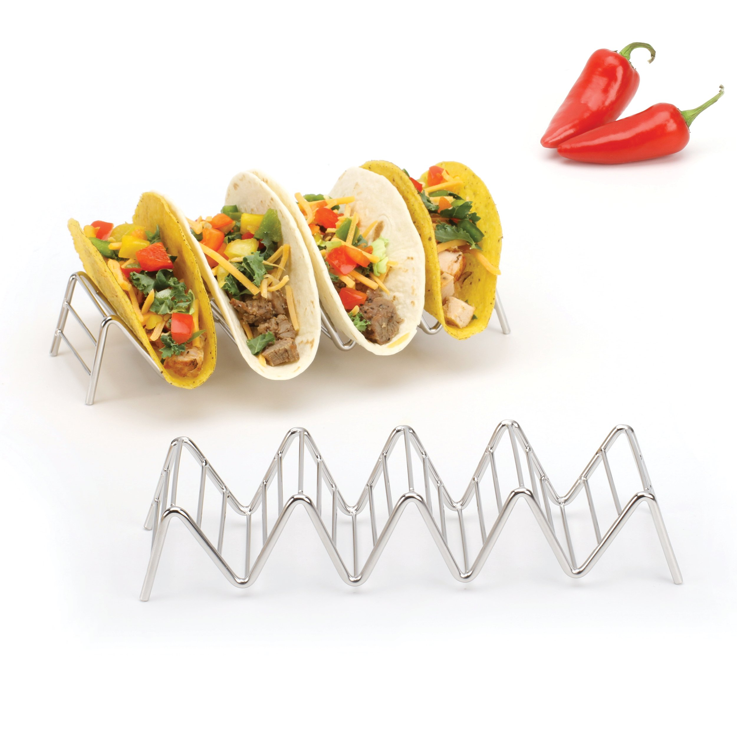 Taco Shell Holder, Stainless Steel Taco Rack Hard Soft Taco's, 2 Pack, 5 Styles Available 2 Lb. Depot (Holds 4 or 5 Tacos)