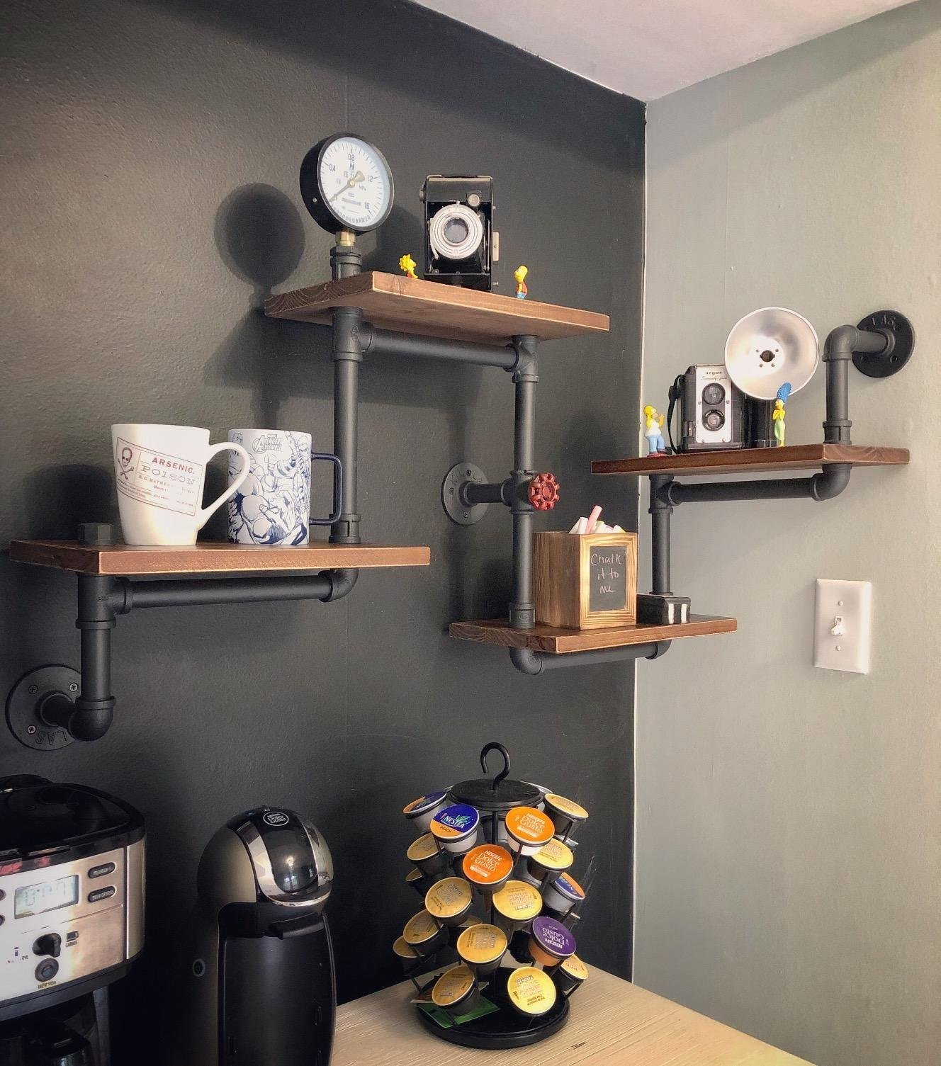Industrial Rustic Modern Wood Ladder Pipe Wall Shelf 4 Layer Pipe Design Bookshelf Diy Shelving by WGX Design For You