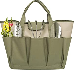 CIYRULL Garden Tote Bag,Garden Tool Organizer with 8 Roomy Pockets, Garden Tool Bag for Keeping Gardening Kit and Necessities(Bag Only)
