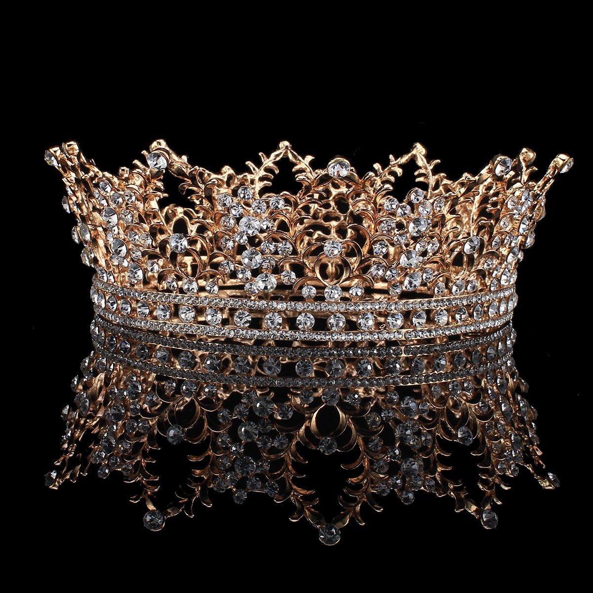 FUMUD Bridal Jewelry Baroque Tiara Crown Women Vintage Headband Rhinestone Crystal Crown (Roes gold)