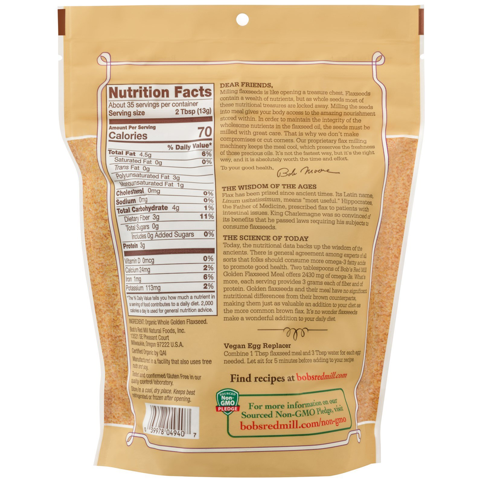 BOB'S RED MILL, Organic Flaxseed Meal, Golden, Pack of 4, Size 16 OZ, (Gluten Free Kosher 95%+ Organic)