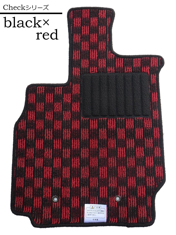 【フロアマット】日産エクストレイル T31系 チェックシリーズ ブラック×レッド (国内生産社外マット) B00AW7HWSE