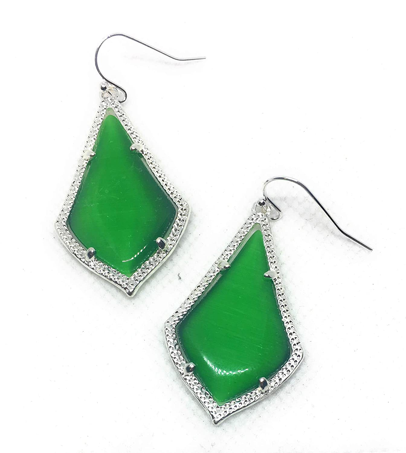 Inspired Fashion Jewelry New Cat Eye Earrings in Emerald Green in Silver Tone