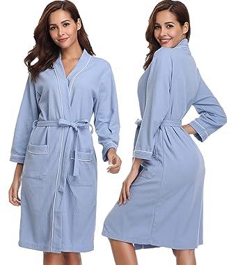 04b0e41fc8 Image Unavailable. Image not available for. Color  Vlazom Lightweight  Bathrobe Unisex Waffle Robes Cotton Soft Kimono Loungewear Sleepwear ...