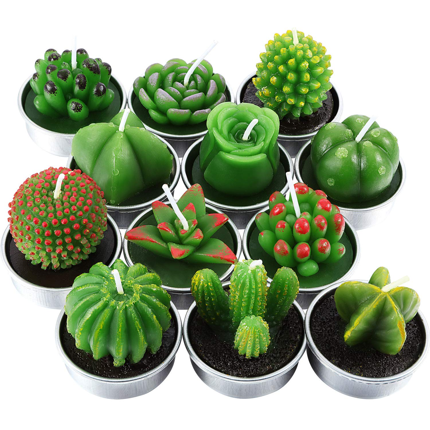 Tatuo 12 Pieces Cactus Candles Succulent Cactus Rose Tealight Handmade Candles for Teatime Spa Home Party Wedding Decoration Gifts by Tatuo (Image #2)