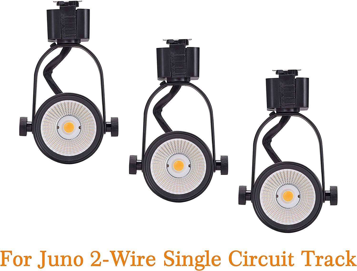 Cloudy Bay Juno Type LED Track Light Head,10W CRI 90 3000K Warm White Dimmable,Adjustable Tilt Angle Track Lighting Fixture 40/° Angle for Accent Retail,Black Finish-3 Pack