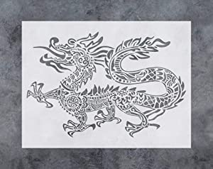 GSS Designs Dragon Wall Decor Stencil - Chinese Asian Oriental Dragon Stencil (12x16 Inch) for Painting - Wall Furniture Fabric Wood Stencils -Reusable Template for Wall Decals (SL-038)