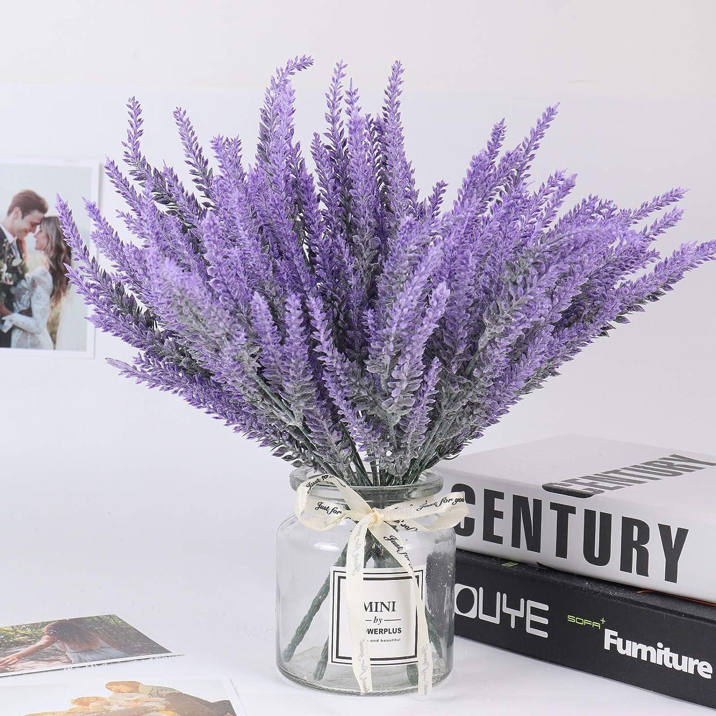 Flores artificiales de plástico flocado. 8 manojos (lavanda)