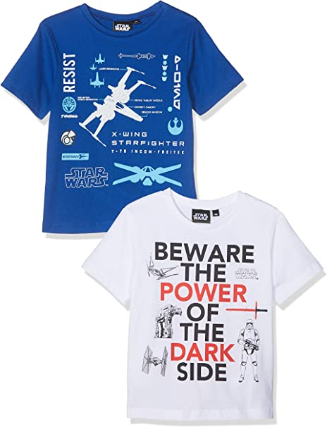 Star Wars Camiseta, Multicolor (Blue & White Blue/White), 10 años ...