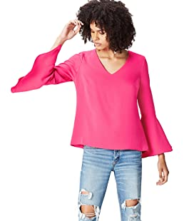 FIND Women's Blouse with Tiered Frill Sleeve and Side Pleat, Pink (Fuchsia), 8 (Manufacturer size: X-Small)
