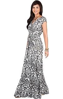 011353ceb9d4 KOH KOH Womens Long Cap Short Sleeve Print V-Neck Empire Waist Summer Maxi  Dress