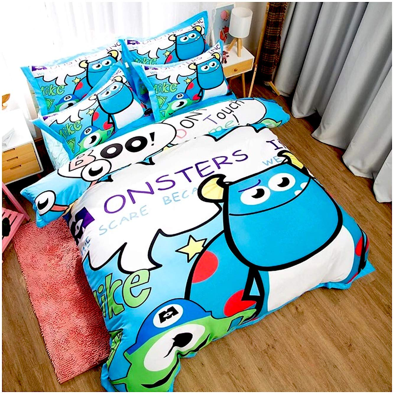 Peachy Baby Featuring Monsters University Inc. Bedding Sheet Set Single Queen King Twin Full Size 【Free Express Shipping】【100% Cotton】 Disney Mike James Cartoon 3 or 4 Pieces (Queen/Double/Full Size)