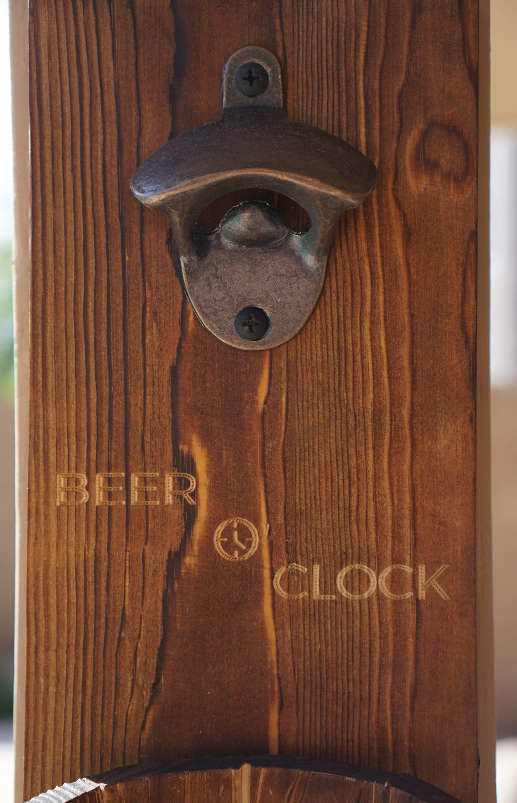 Thirsty Solutions - ''Beer O' Clock'' Rustic Wall Mounted Bottle Opener and Catcher - Dark Stain Pine with Zinc Alloy Opener - Removable Wooden Bucket - Man (or Woman) Cave Ready by Thirsty Solutions (Image #5)