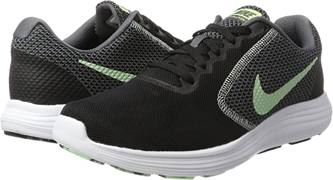 Nike Revolution 3, Zapatillas de Running para Mujer, Negro (Black/Fresh Mint-White-Dark Grey), 40.5 EU: Amazon.es: Zapatos y complementos